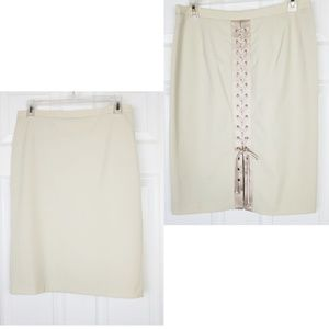 Bcbgmaxazria khaki laces on the back pencil skirt